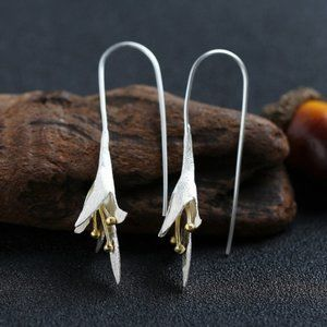 Jewelry - NEW 925 Sterling Silver Two Tone Lily Earrings